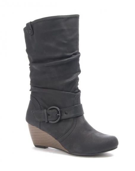 Chaussures femmes Sinly: Bottes compensées noire