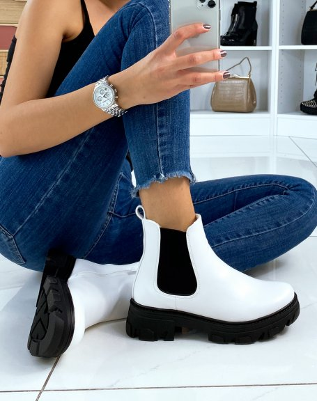 Chelsea boots blanches en similicuir