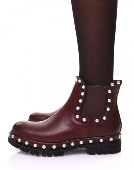Chelsea boots bordeaux à perles