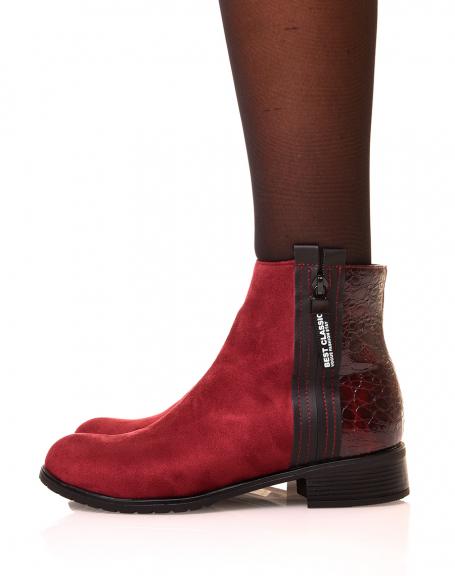 Chelsea boots bordeaux bi matière