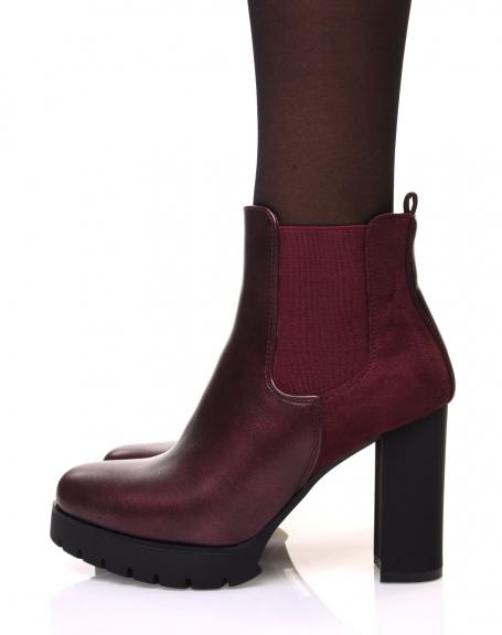 Chelsea boots bordeaux bi matières à talons et plateforme crantée