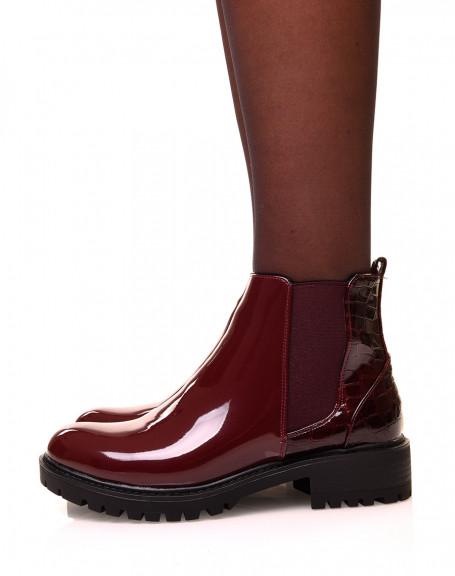 Chelsea boots bordeaux bi-matières effet croco