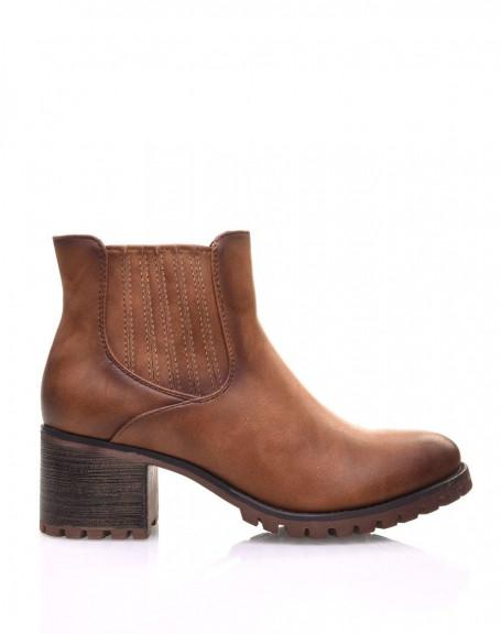 Chelsea boots camel à élastiques rayés