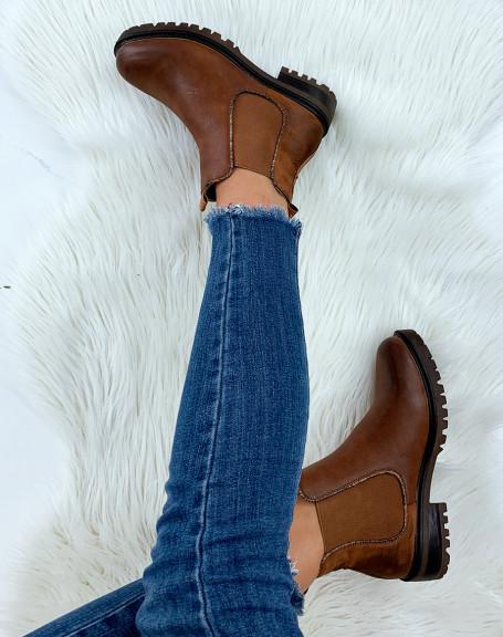 Chelsea boots camel bi-matières à détails effet python
