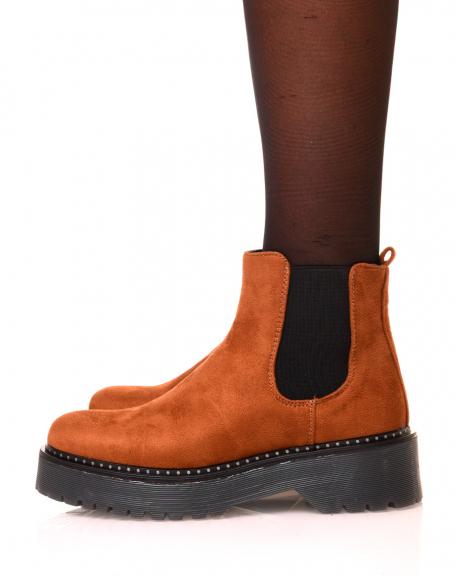 Chelsea boots camelles en suédine