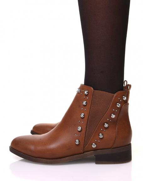 Chelsea boots camels ornés de strass