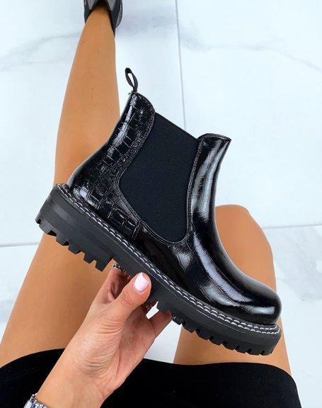 Chelsea boots effet croco noir à grosse plateforme