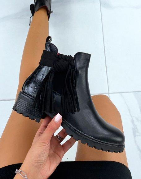 Chelsea boots noires bi-matière à frange