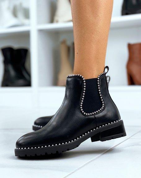 Chelsea boots noires cloutées