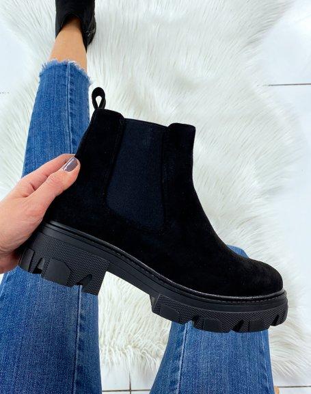 Chelsea boots noires effet daim