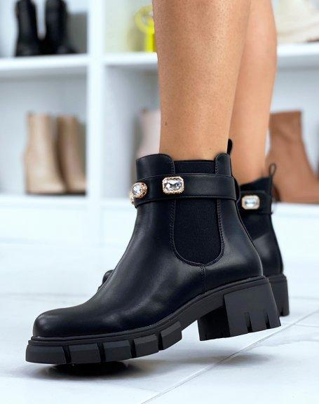 Chelsea boots noires ornées de bijoux