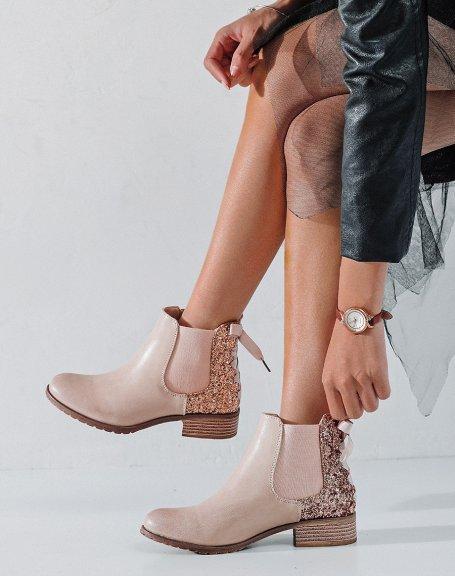 Chelsea boots rose poudré à paillettes avec nœud