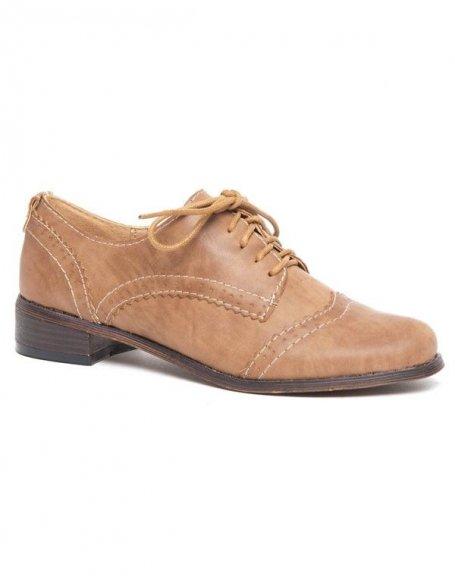 Derbies style richelieu Ideal brun, talon large et plat