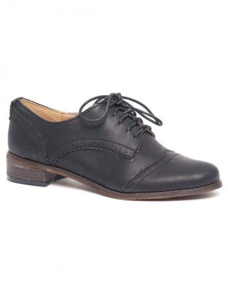 Derbies style richelieu Ideal noir, talon large et plat