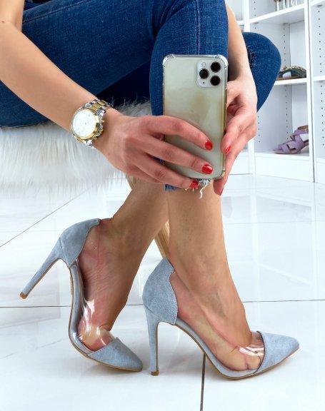 Escarpin à empiècements en suédine bleu pastel et transparents