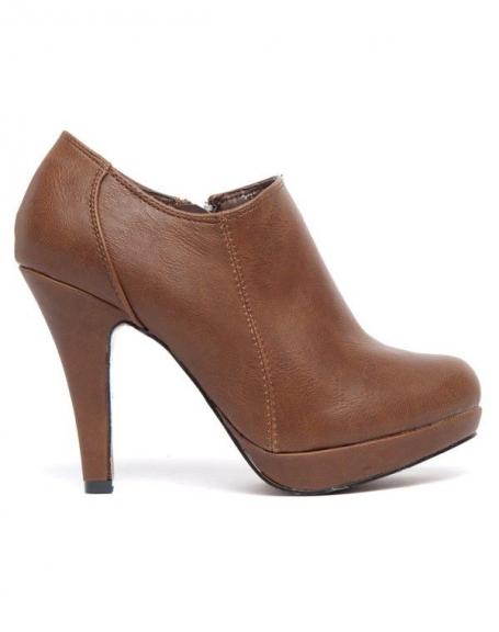 Escarpin fermé style bottine Alicia Shoes brun, fermeture éclair