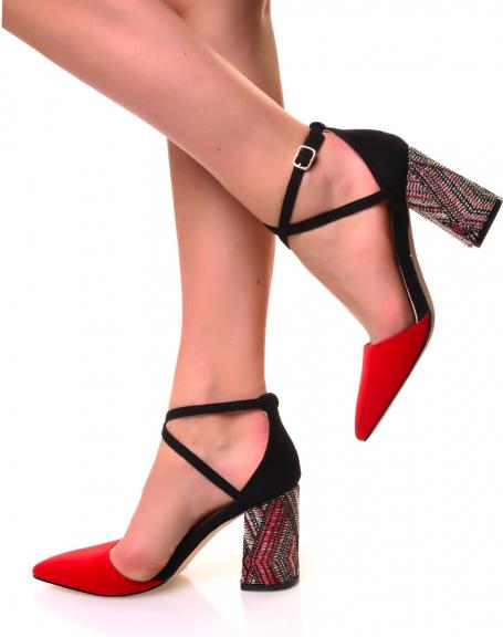 Escarpins à talons carrés tissés en suédine rouge