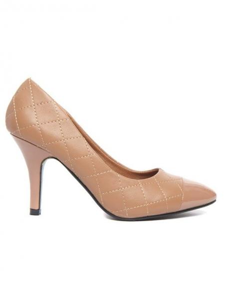 Escarpins Alicia Shoes surpiqûres effet capitonné beige
