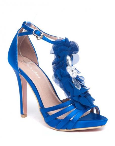 Escarpins bleus Style Shoes fleur en tule et pierres fantaisie