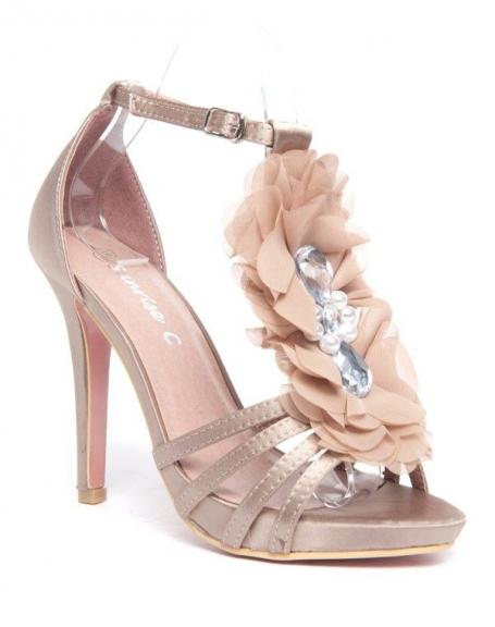 Escarpins champagne Style Shoes fleur en tule et pierres