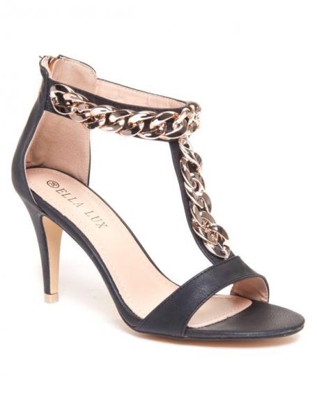 Escarpins noires avec chaine dorée Ella Lux