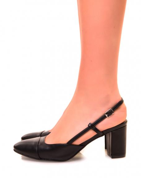 Escarpins noirs à bout rond et à petit talon