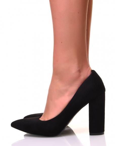 Escarpins noirs à talon épais
