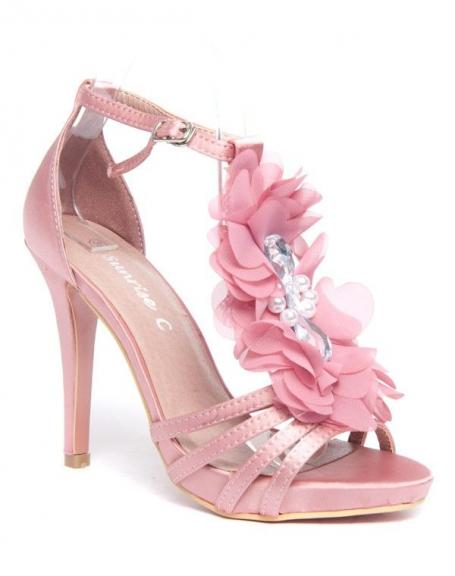 Escarpins roses Style Shoes fleur en tule et pierres fantaisie