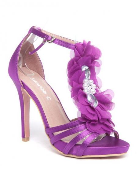 Escarpins violets Style Shoes fleur en tule et pierres fantaisie