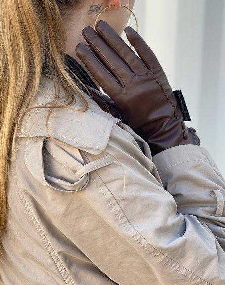 Gants en cuir chocolat LuluCastagnette 2 boutons déco