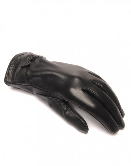 Gants en cuir noir LuluCastagnette noeud