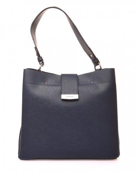 Grand sac à main bleu à lanière aimante