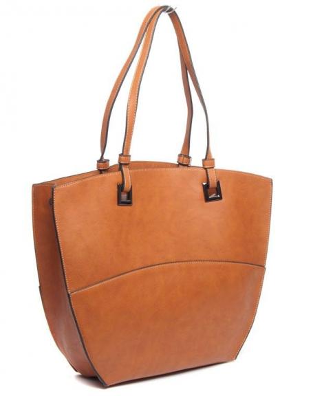 Grand sac à main fourre-tout Flora&Co camel