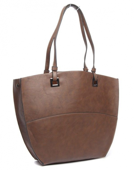 Grand sac à main fourre-tout Flora&Co marron