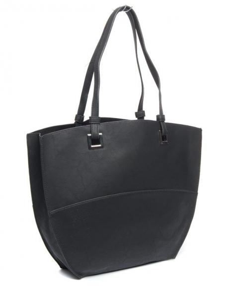 Grand sac à main fourre-tout Flora&Co noir
