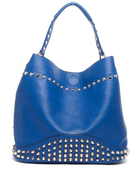 Grand sac à main Lantadeli bleu clouté avec pochette assortie