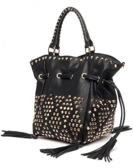 grand sac main noir clous lantadeli avec pompons. Black Bedroom Furniture Sets. Home Design Ideas