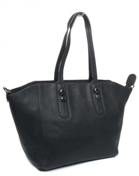 Grand sac à main noir Flora&Co avec grande trousse