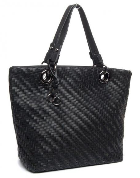 Grand sac à main noir Flora&Co, doublure tressé en relief