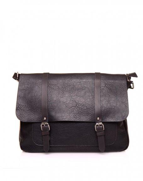 Grand sac bandoulière vintage noir