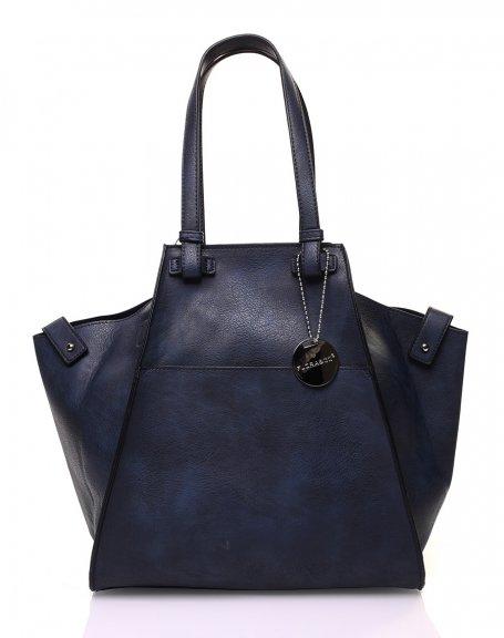 Grand sac bleu marine de forme triangulaire ajustable