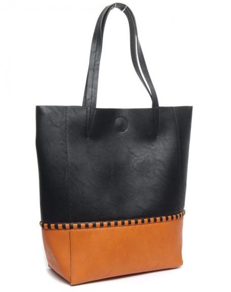 Grand sac femme à couture apparente bichromie noir