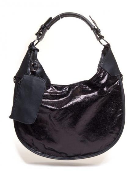 Grand sac femme noir Flora & Co brillant