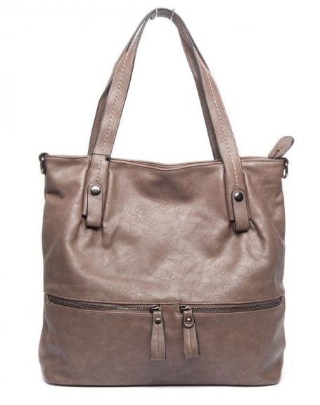 Grand sac femme taupe Flora & Co avec trousse