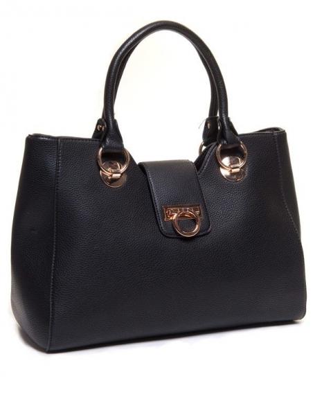 Grand sac noir multi rangements et accroche centrale doré