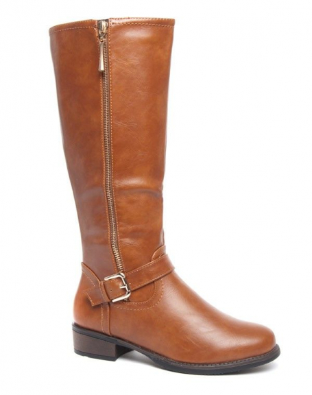Grande botte cavalière Style Shoes camel