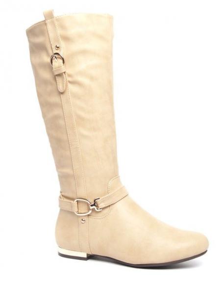 Grandes bottes beige Style Shoes talons plats dorés