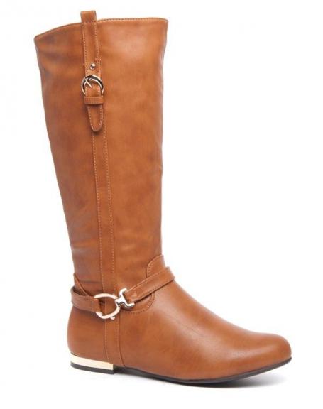 Grandes bottes camel Style Shoes talons plats dorés