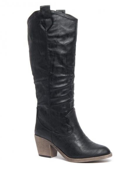 Grandes bottes Like Style noire à talons épais