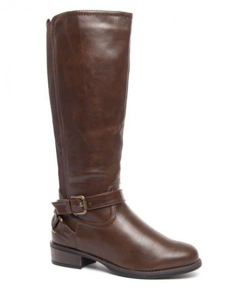 Grandes bottes marron Style Shoes à bandes stretch